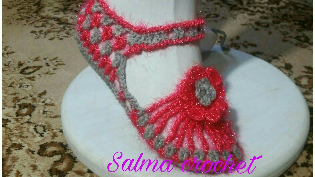 c7906d543 كروشيه حذاء سليبر بالوري نسائي عرايسي لا يفوتك Crochet Slipper shoes for  bride
