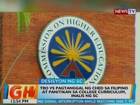 BT: TRO vs. pagtanggal ng CHED sa Filipino at Panitikan sa college curriculum, inalis ng SC