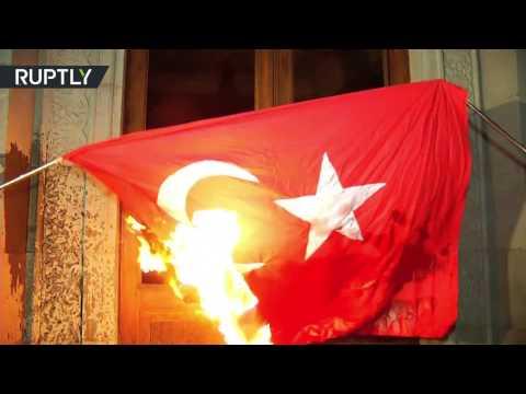 В Армении сожгли турецкий флаг перед началом акции памяти жертв геноцида
