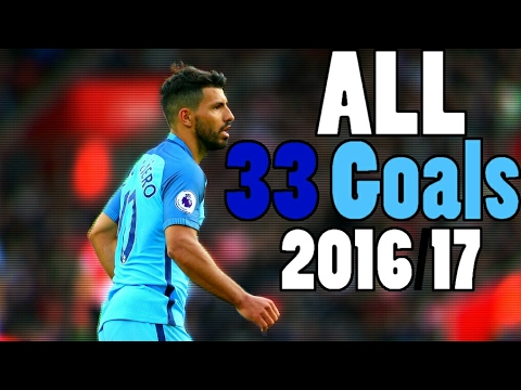 Sergio Agüero - All 33 Goals - 2016/17 ⚫ English Commentary - Manchester City (All Competitions)