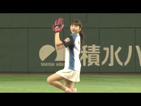 モー娘。牧野真莉愛、ノーバン投球失敗 涙でリベンジ誓う 「日本ハム対西武」戦ファーストピッチセレモニー