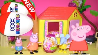 Surprise Egg Hunt at Peppa Pig Tree House, Peppa, George, Emily Elephant,  Mommy Pig Toy Review