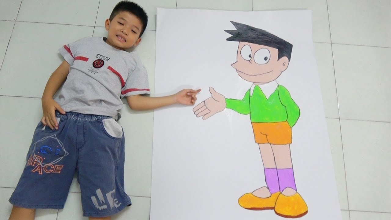 Vẽ Suneo trong phim hoạt hình Doremon – Draw and Coloring Suneo of Doraemon for kids