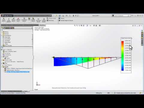SolidWorks beam bending shear and moment diagrams
