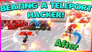 BEATING A TELEPORT HACKER IN RBWORLD 2! (ROBLOX)