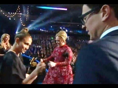 Jennifer Lopez Saves Adele from Intruder at Grammys 2013!