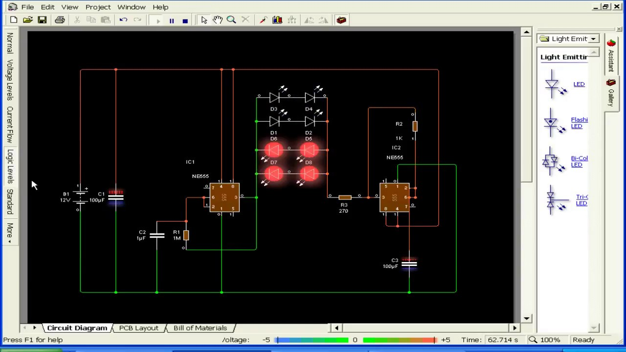 Led Chaser Circuit Diagram Breadboard Projects Running Light 555 Ic