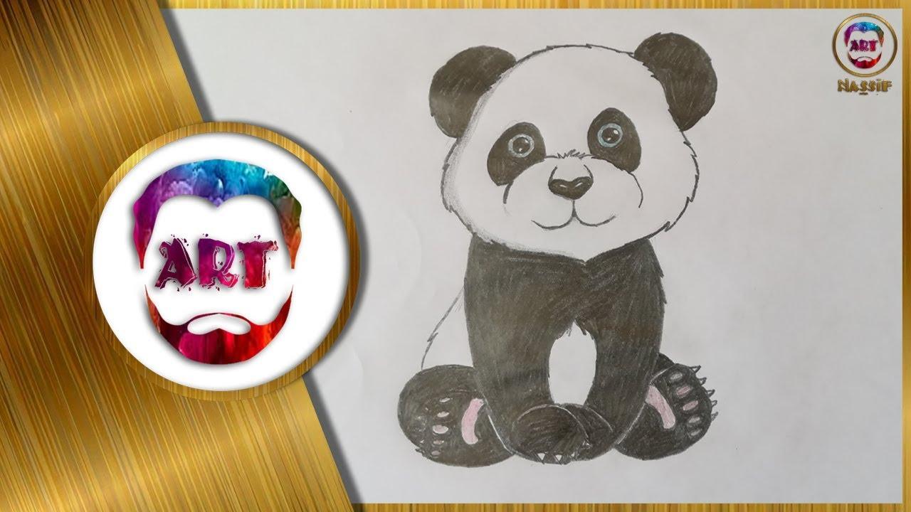 طريقة رسم دب الباندا بسهولة للاطفال والمبتدئين Youtube