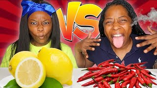 SPICY FOOD VS SOUR FOOD CHALLENGE WITH MY MOM