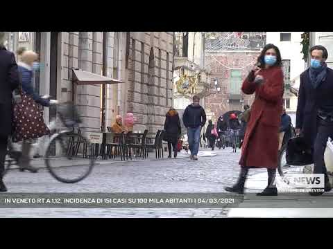 IN VENETO RT A 1,12, INCIDENZA DI 151 CASI SU 100 MILA ABITANTI | 04/03/2021
