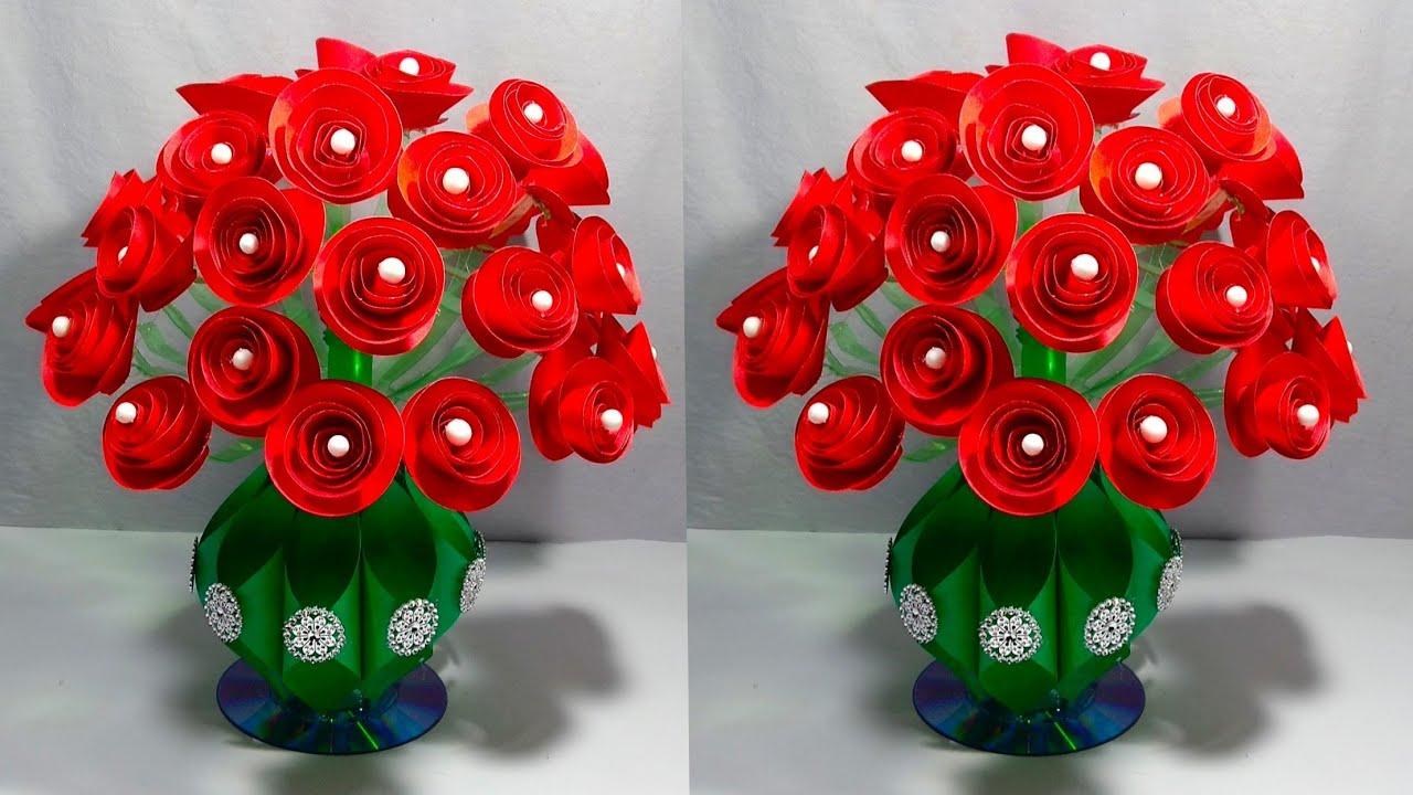 GULDASTA/DIY/NEW DESIGN PAPER FLOWER GULDASTA/WASTE PLASTIC BOTTLE FLOWER POT/VASE/ROSE GULDASTA #1