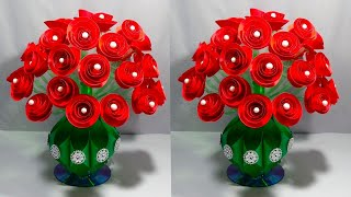 GULDASTA/DIY/NEW DESIGN PAPER FLOWER GULDASTA/WASTE PLASTIC BOTTLE FLOWER POT/VASE/ROSE GULDASTA