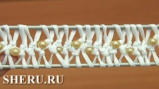 Как вязать ленту на вилке с бусинками Урок 40 How to Crochet Hairpin Lace