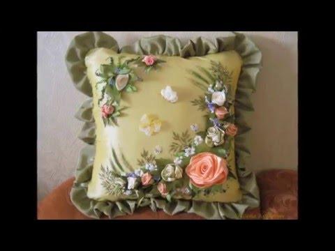 Вышивка подушки лентами схемы