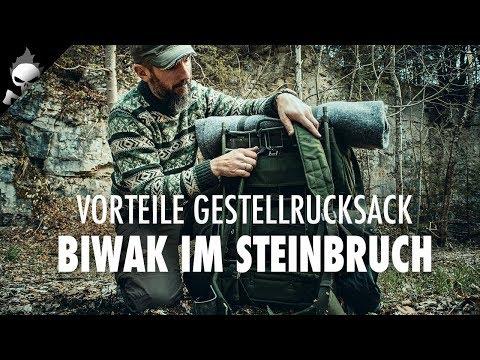 Vorteile Gestellrucksack LK35 – Wildcampen im Steinbruch am Lagerfeuer