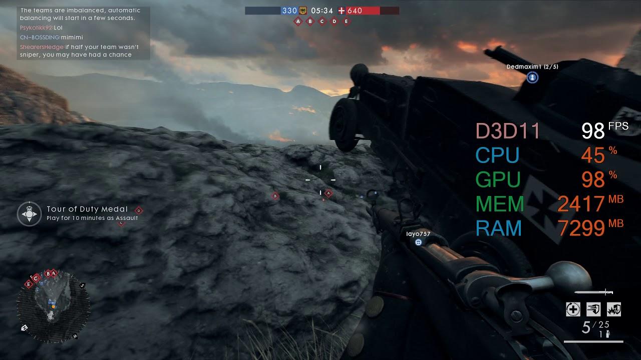 GeForce GTX 1060 6GB -- AMD Ryzen 5 2600 -- Battlefield 1 FPS Test Caporetto - YouTube