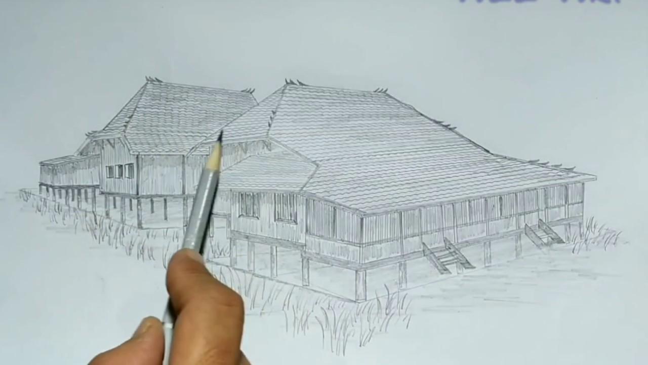 Cara Menggambar Rumah Adat Sumatera Selatan Atau Rumah Limas Youtube
