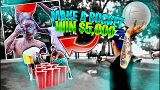 Make All 10 Buckets, Win $5,000 - GIANT Table Pong Challenge (Ft. Poudi, Charc, David & Tweezy)