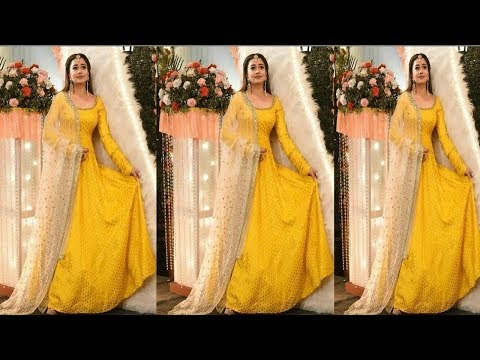 Floor Touch Yellow Anarkali suits||Yellow Anarkali Suits & Heavy Dupatta Designs Ideas