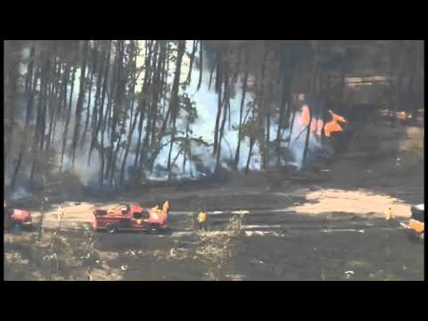 Fire Crews Battle Massive Forest Fire In New Jersey