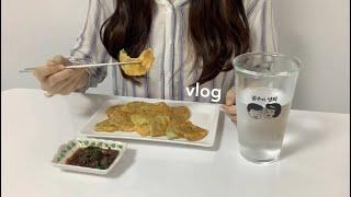 vlog 집에서 요리하며 보내는 집순이 일상 | 호박전…
