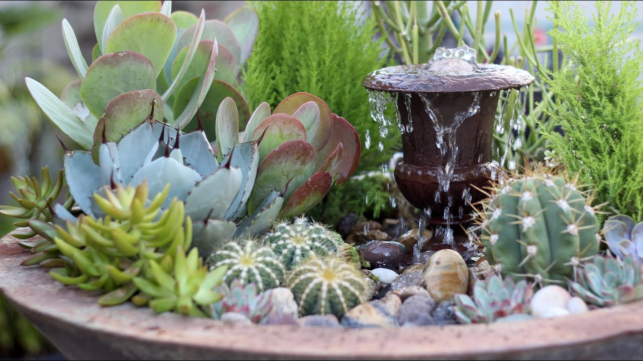 Succulent fountain arrangement triple urn challenge for Garden arrangement