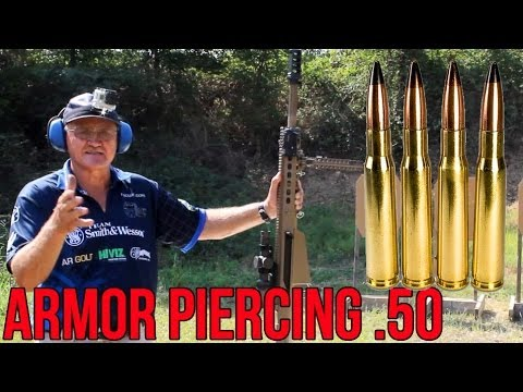 BARRETT 50 cal ARMOR PIERCING round testing through steel, concrete & watermelons! Jerry Miculek