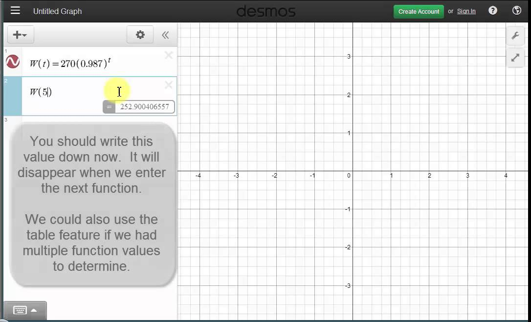 Ex Solve An Exponential Decay Equation Graphically Using The Desmos
