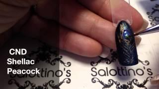 Peacock nail art using CND Shellac