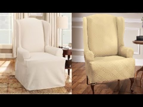 Black Wingback Chair Covers Outdoor Chairs With Cushions Slipcover For Youtube