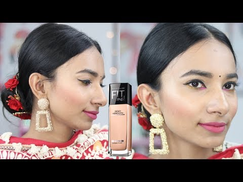 [Hindi] Makeup Using Maybelline Fit Me Foundation Sun Beige/ Medium Concealer