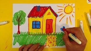 Как нарисовать ДОМ / Урок рисования для детей от 3 лет
