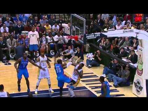 Kevin Durant NASTY facial dunk on Roy Hibbert (Apr 6, 2012)