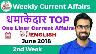 धमाकेदार Top One Liner Current Affairs | 2nd Week of June