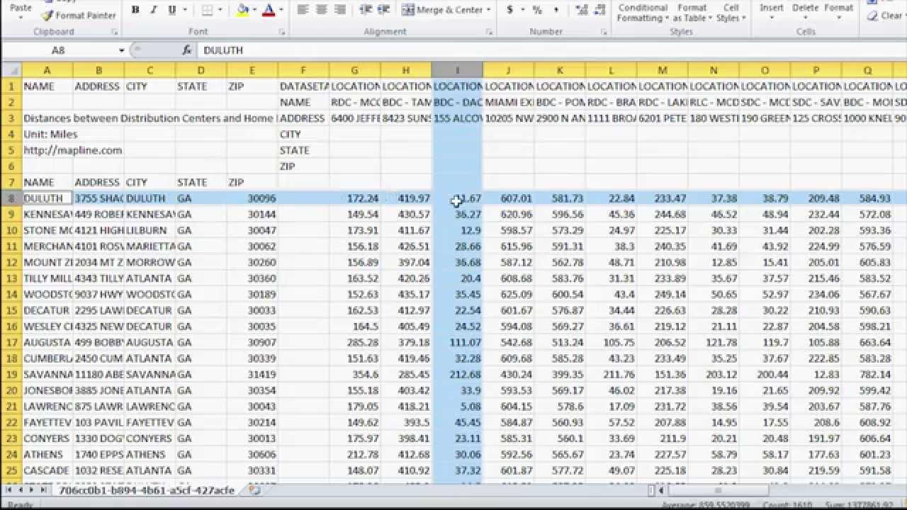 How to Calculate Distances Between Multiple Locations or Spreadsheet Data  Sets