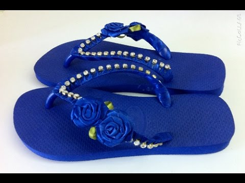 01f7b6a0a1 Chinelo decorado com fita e strass passo a passo - YouTube