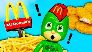 MCDONALDS Drive Thru Disney PJ Masks Gekko  Surprises Paw Patrol and Boss Baby Funny Video