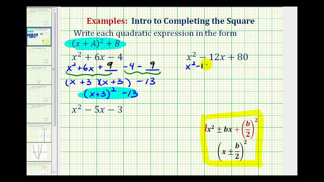 Ex: Create An Expression With A Perfect Square Quadratic Trinomial