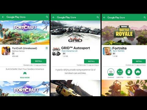 Fortnite Battle Royal or Fortcraft for Android, Asphalt 9 legends, Grid Autosport, Shadowgun Legends