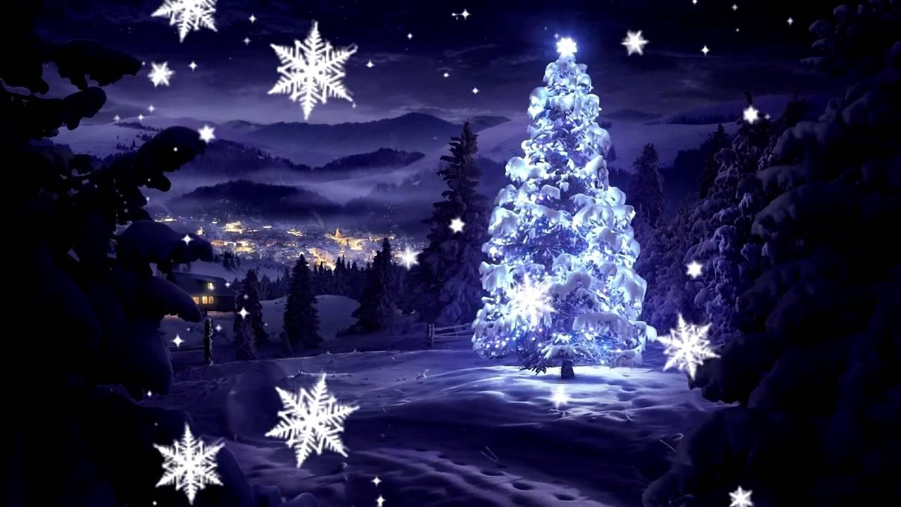 Cute Computer Wallpaper Backgrounds Зима ночь елка в лесу падают снежинки Youtube