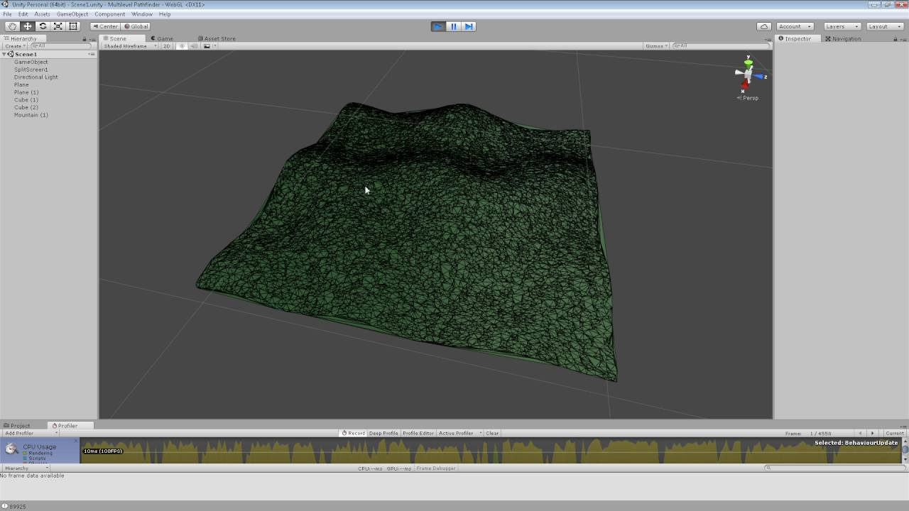 Unity3D Triangulation and Perlin noise test 2