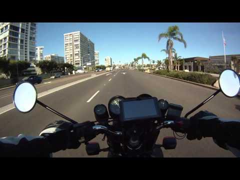 Motorcycle ride on Coronado Bridge to San Diego California on classic BMW R100RS