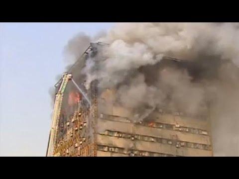 Effondrement d'un grand immeuble à Téhéran (Iran)