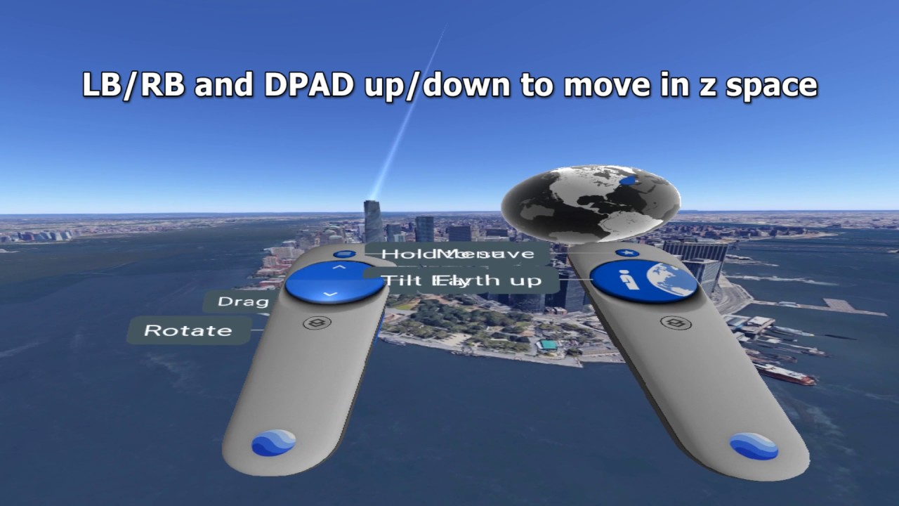 Google Earth VR without Touch (tracked motion controllers) using  X-Input/XBOX360 controller on Steam