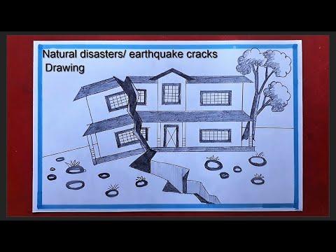 Natural disasters Scenery Art    Drawing scenes of earthquake cracks    Pencil Drawing
