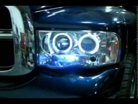 SpecD  Halo Projector Headlights LEDs Dodge Ram 20022005 Installation Video  YouTube