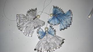 DIY Ангелочки своими руками из ленты с проволочным краем.