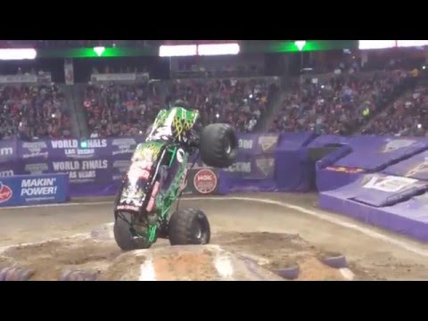 Monster Jam,  truck roll over, breaks wheel,,Denver Colorado 2016