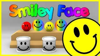 learn colors with smiley face balls   learn colors with smiley balls faces drums rubber balls