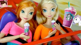 Frozen Elsa & Anna Try the Starbucks Unicorn Frappuccino + DIY Miniature Doll Starbucks Coffee